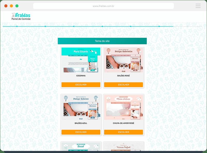 iFraldas.com.br - escolha entre temas variados para o chá de fraldas virtual