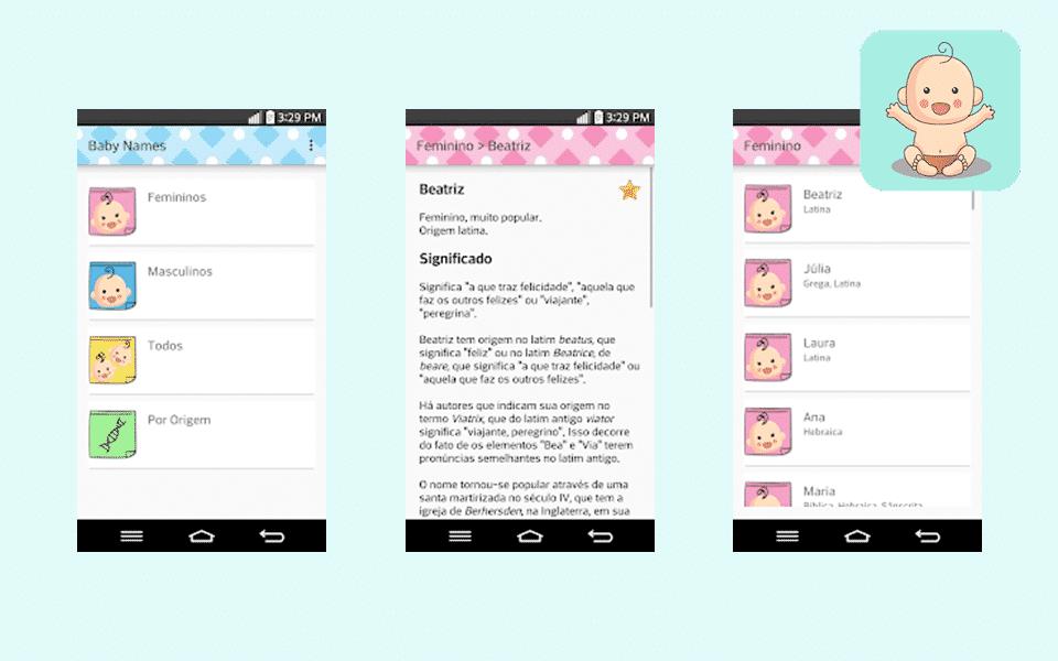 O app Baby Names é apenas para Android, mas ajuda na escolha do nome do bebê